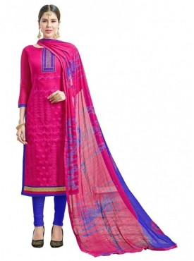 Aasvaa Pink Color Fancy Multi Embrodiery With Designer Border And Printed Dupatta Chanderi Cotton Salwar Suit Nazneen DUPATTA