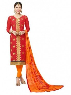 Aasvaa Red Color Fancy Multi Embrodiery With Designer Border And Printed Dupatta Chanderi Cotton Salwar Suit Nazneen DUPATTA