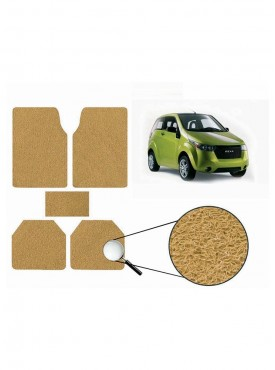 True Vision Car Anti Slip Noodle Floor / Foot Mats Set of 5 Beige For Mahindra Reva 2014