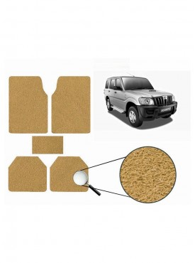 True Vision Car Anti Slip Noodle Floor / Foot Mats Set of 5 Beige For Mahindra Scorpio Type 2  - 2008-2014