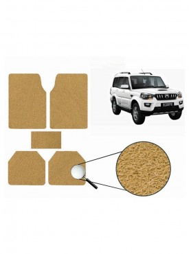 True Vision Car Anti Slip Noodle Floor / Foot Mats Set of 5 Beige For Mahindra Scorpio Type 3  - 2014-2015