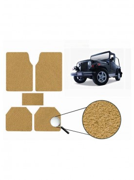 True Vision Car Anti Slip Noodle Floor / Foot Mats Set of 5 Beige For Mahindra Thar