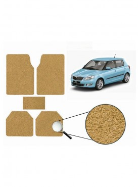 True Vision Car Anti Slip Noodle Floor / Foot Mats Set of 5 Beige For Skoda Fabia