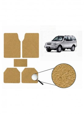 True Vision Car Anti Slip Noodle Floor / Foot Mats Set of 5 Beige For Tata Safari Type 1  - 1998-2006