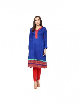 A-line Green Cotton 3/4 Sleeves with Blockprinted Kurti