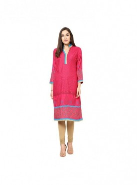 Anarkali Red Cotton 3/4Sleeves with Blockprinted Kurti