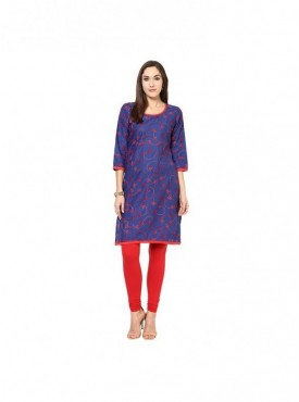 A-line Yellow Cotton 3/4 Sleeves with Blockprinted Kurti