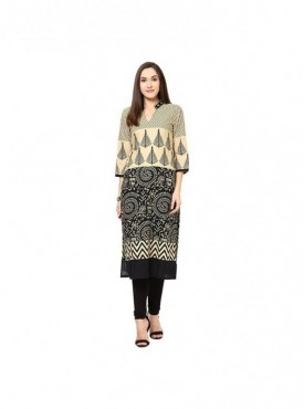 A-line Sky Blue Cotton 3/4 Sleeves with Blockprinted Kurti