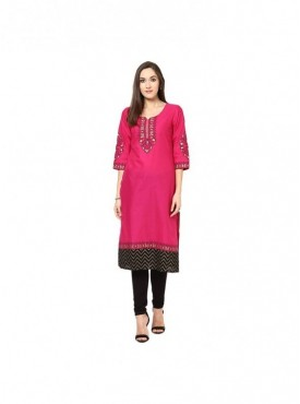 A-line Mehndi Cotton 3/4 Sleeves with Blockprinted Kurti
