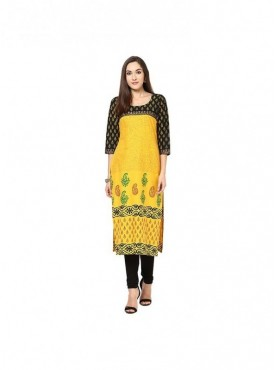 A-line Red Riyon 3/4 Sleeves with Blockprinted Kurti