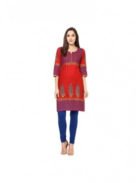 A-line Black Cotton 3/4 Sleeves with Blockprinted Kurti