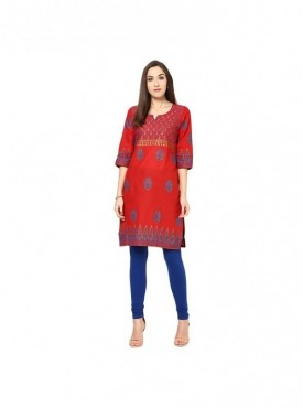 A-line Blue Cotton 3/4 Sleeves with Printed Kurti
