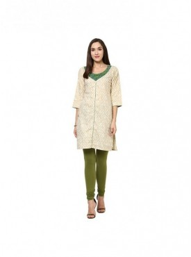 A-line Cream Cotton 3/4 Sleeves with Printed Kurti