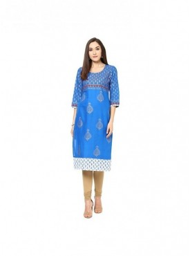 A-line Pink Cotton 3/4 Sleeves with Blockprinted Kurti