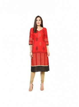 A-line Magenta Cotton 3/4 Sleeves with Blockprinted Kurti