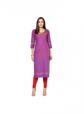 A-line Blue Cotton 3/4 Sleeves with Blockprinted Kurti