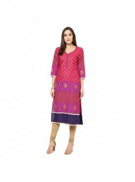 A-line Red Cotton 3/4 Sleeves with Blockprinted Kurti