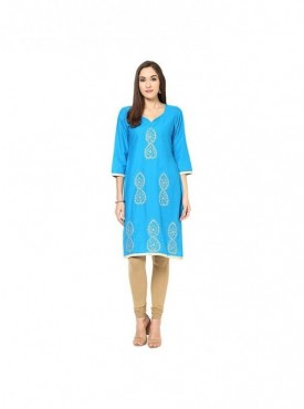 A-line Cream Cotton 3/4 Sleeves with Blockprinted Kurti