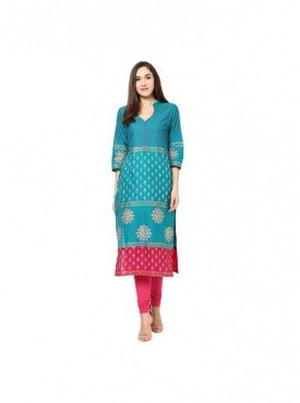 A-line Green 3/4 Sleeves with Blockprinted Kurti