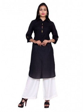 Gaurangi Women's Designer Black Kurti Self Textured Cotton Kurta