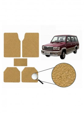 True Vision Car Anti Slip Noodle Floor / Foot Mats Set of 5 Beige For Toyota Qualis