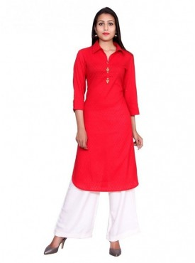 Gaurangi Women's Partywear Designer Dress Kurti Kurta Red