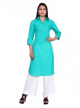 Gaurangi Women's Partywear Self Texture Kurti Dress Kurta 100% Cotton