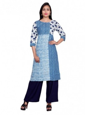 Gaurangi Women's Indigo Kurti Side Slit Designer Kurta Dress
