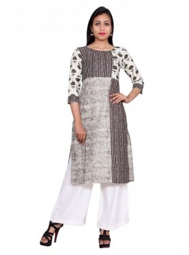 Gaurangi Women's Anarkali Kurti Side Slit Designer Cotton Kurta Dress