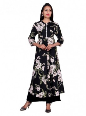 Gaurangi Women's Ankle Length Floral Designer Kurti Dress
