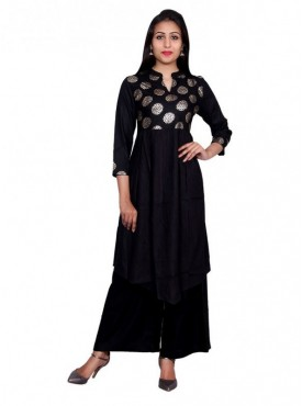 Gaurangi Women's Hand Block Gold Print Party Wear Designer Black Kurti Kurta