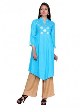 Gaurangi Women's Hand Block Gold Print Party Wear Designer Blue Kurti Kurta