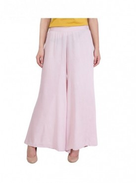 In Stock American-Elm Women Light Pink Rayon Palazzo