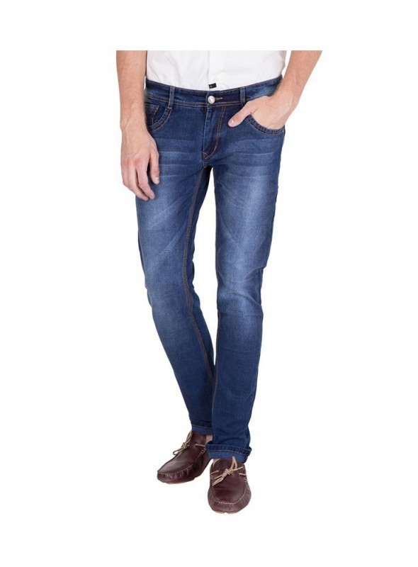 US Blue Men Dark Bue Faded Slim fit Jeans