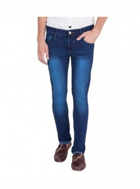 US Blue Dark Blue Faded Stretchable Jeans for Men