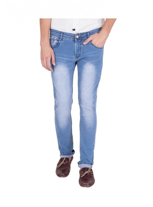 US Blue Men Light Blue Faded Cotton Stretchable Jeans