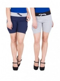 American-Elm Women Grey, Blue Hot Shorts- Pack of 2