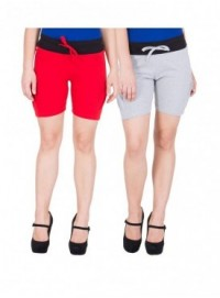 American-Elm Women Grey, Red Cotton Shorts- Pack of 2