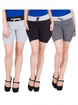 American-Elm Women Grey, Dark Grey, Black Short Pants- Pack of 3