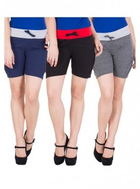 American-Elm Women Black, Dark Grey, Blue Hot Shorts- Pack of 3