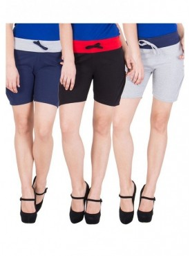 American-Elm Women Blue, Grey, Black Shorts- Pack of 3