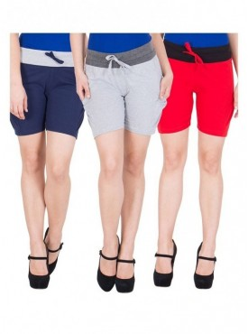 American-Elm Women Blue, Grey, Red Cotton Shorts- Pack of 3