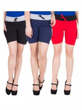 American-Elm Women Black, Black, Red Cotton Short Pant- Pack of 3