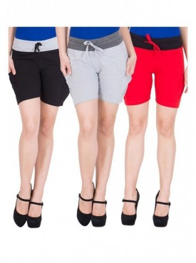 American-Elm Women Pack of 3 Cotton Shorts- Black, Grey, Red