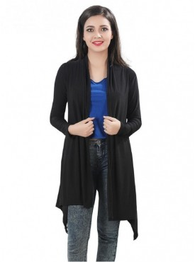 Bfly Black Crepe Long Shrug