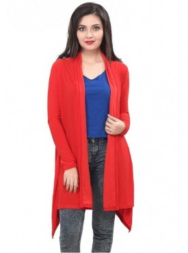 Bfly Red Crepe Long Shrug