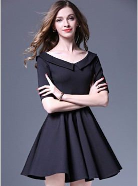 Modern Europe Doll Collar Mid-sleeve Flouncing A-line Dress