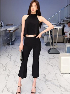 Fashion Korea Bare-midriff Camisole with Wide-leg Cropped Pants