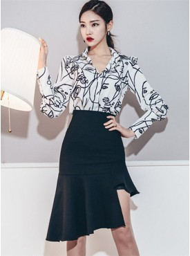 Best Selling Abstract Face Blouse with Fishtail Sloping Skirt