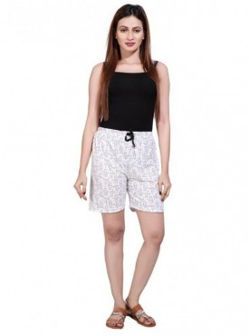 Bfly Women's Printed Cotton Hosiery Shorts (White)